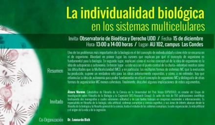 Invitación Charla Individualidad biológica. Álvaro Moreno.